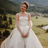 婚紗手套水晶薄紗短款長款新娘結婚禮服手套夏季全指防曬 晴天時尚館