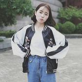 韓國復古刺繡夾克棒球服BF原宿風寬鬆休閒短款外套學生潮