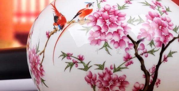 天球水點桃花粉彩花瓶