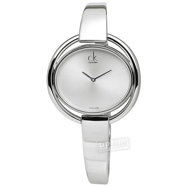 CK / K4F2N116 / IMPETUOUS 優雅主義 不鏽鋼鍊指針腕錶 銀白 34mm