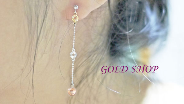 ╭☆ gold shop ☆╯彩K金 玫瑰金 耳環 附白K耳扣 [ ke 004 ]-0.29