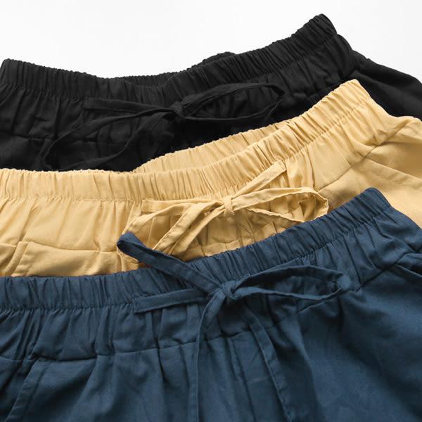 ★現貨★MIUSTAR 親膚透氣軟質棉麻口袋鬆緊寬褲(共3色)【NF2319RZ】