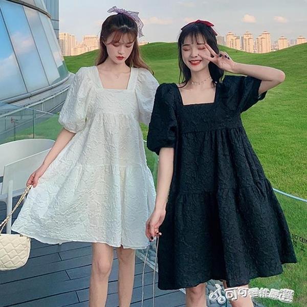 法式洋裝 夏季2020新款法式甜美方領泡泡袖a字高腰顯瘦寬鬆閨蜜裝洋裝女