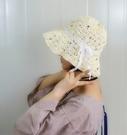 草帽 可折疊 蕾絲蝴蝶結 花朵水鑽珠珠遮陽帽【NC005-2】