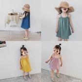 吊帶連身裙2020夏季童裝新款女童純色吊帶裙兒童無袖洋氣連身裙寶寶公主裙潮 小天使