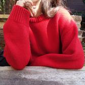 秋冬chic韓國慵懶圓領套頭針織衫寬鬆大紅色糖果毛線毛衣女上衣潮 9號潮人館
