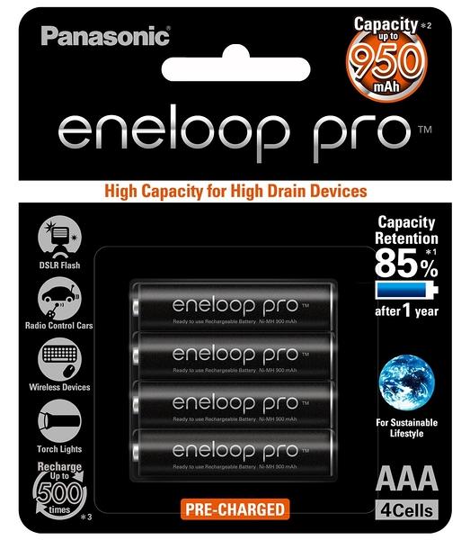 日本製 Panasonic 國際牌 eneloop pro 4號 950mAh低自放電池 4入裝送電池盒