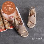 IN'SHOP 涼鞋-人氣熱銷交叉寬帶優雅絨面後繞式厚底涼鞋-共2色 【KF00525】