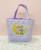 【震撼精品百貨】Little Twin Stars KiKi&LaLa_雙子星小天使~Sanrio格紋防水提袋-紫#13017