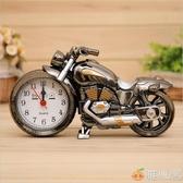 摩托模型擺件定時鬧鐘創意學生個性床頭鐘臥室復古懷舊摩托車鬧鐘 雅楓居