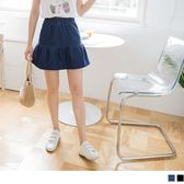 OrangeBear《CA1268》水洗牛仔丹寧傘襬車線褲裙--適 XL~6L