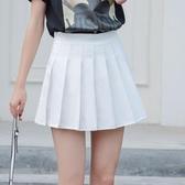 新款百褶裙軟妹短裙女夏高腰A字裙學生防走光格子半身裙褲