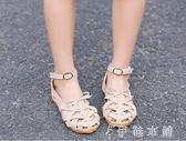 夏季新款歲韓版女童涼鞋公主鞋編織羅馬鞋平底鞋包頭涼鞋   伊鞋本鋪