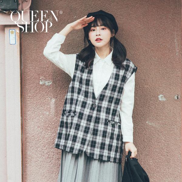 Queen Shop【02080041】配色格紋磨毛背心外套*現+預*