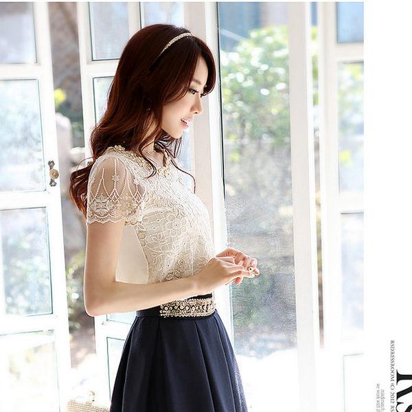 BRIGA SING8825雪紡蕾絲衫釘珠短袖網紗襯衫