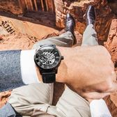 歐綺娜手錶男士夜光機械錶學生時尚潮流鏤空正韓防水真皮新款男錶
