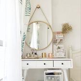 浴室鏡子 壁掛鏡子 鐵藝壁掛鏡圓形鏡子化妝鏡浴室鏡圓鏡裝飾鏡試衣鏡【直徑50公分】
