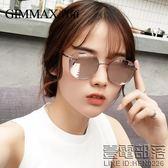 新款潮流個性太陽鏡小圓臉反光藍粉眼鏡男女韓版墨鏡防紫外線【萊爾富免運】