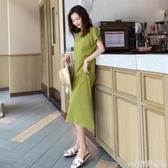 短袖洋裝復古短袖連身裙女春夏新款韓版chic時尚過膝中長款T恤裙子潮春季特賣