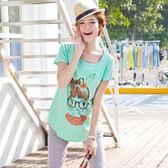 孕婦打底衫短袖上衣孕婦裝時尚孕婦韓版大碼印花t恤短袖