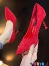 高跟鞋 網紅少女法式單鞋女細跟中跟絨面紅色婚鞋新娘鞋配裙子的高跟鞋女新品