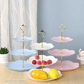 【快出】水果盤歐式下午茶點心托盤多功能塑膠水果盤甜品台擺件蛋糕盤三層蛋糕架