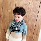 兒童格子圍巾冬季保暖圍脖男女童針織毛線防風【聚可愛】