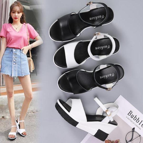 新款楔型厚底增高涼鞋女時尚韓版百搭軟底防滑真皮女鞋 露露日記
