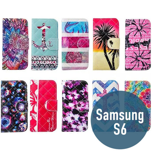 SAMSUNG 三星 S6 小羊皮彩繪皮套 插卡 支架 側翻皮套 錢包套 手機套 殼 保護套 配件