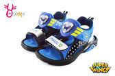 童涼鞋 超級飛俠 包警長 LED電燈運動型涼鞋I6773#黑藍◆OSOME奧森童鞋