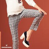【SHOWCASE】帥氣格紋顯瘦修身九分褲(灰色)