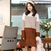東京著衣-多色雙色拼接條紋長版上衣(172948)