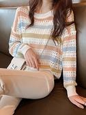 套頭針織 鏤空針織衫女寬鬆年秋季女裝彩色條紋薄款套頭長袖上衣女  芊墨左岸 上新