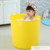 手提加高兒童洗澡桶塑料小孩嬰兒寶寶浴盆泡澡桶家用可坐沐浴桶 韓慕精品  YTL
