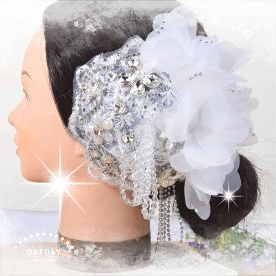 花姑娘新娘秘書新嫁娘頭飾頭花-夾式CB-614(全鑽蕾絲網紗) [46445]串珠.亮鑽.珍珠.水鑽