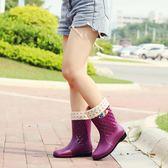 雨鞋女成人女水鞋雨靴短筒防水鞋中筒膠鞋女士高筒水靴牛筋底防滑