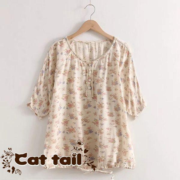 《貓尾巴》LA-0042 田園風印花垂感短袖上衣(森林系 日系 棉麻 文青 清新)