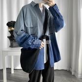 港風ins長袖工裝襯衫男裝春季韓版潮流古著襯衣外套帥氣衣服 萬聖節全館免運