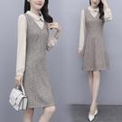 2021名媛范氣質春季新款大碼女裝娃娃領收腰顯瘦針織假兩件洋裝 設計師