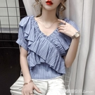 新款夏季很仙的一字肩上衣女交叉荷葉邊露鎖骨V領短袖雪紡衫 檸檬衣舍