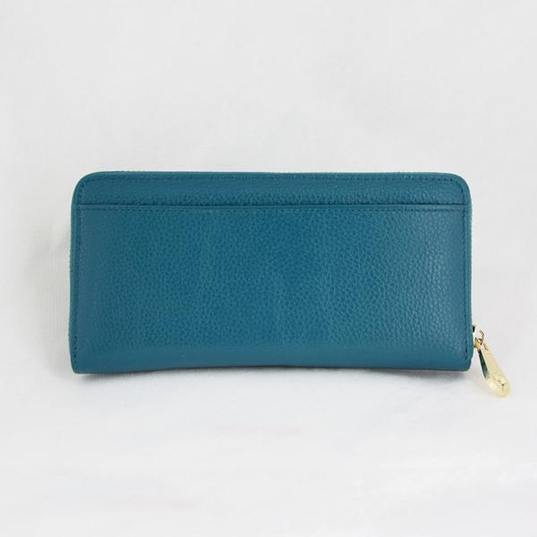 (特價){Misstery}進口牛皮藍綠色單拉鍊加前口袋壓紋女用真皮長夾M99-019GBU