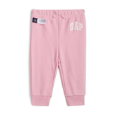 Gap女嬰Logo徽標棉質鬆緊腰裝飾繩休閒褲567704-經典粉紅色