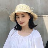 韓版手工鉤針百搭草帽女夏季可折疊小清新海邊度假大檐遮陽沙灘帽