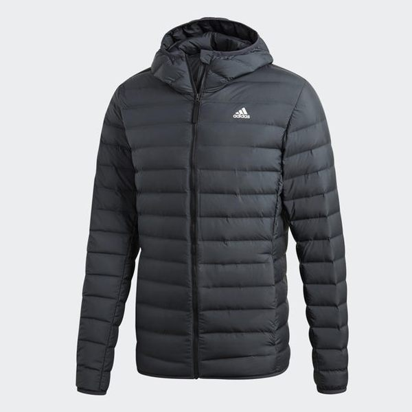 Adidas VARILITE SOFT HOODED 男款黑色羽絨外套-NO.CY8738