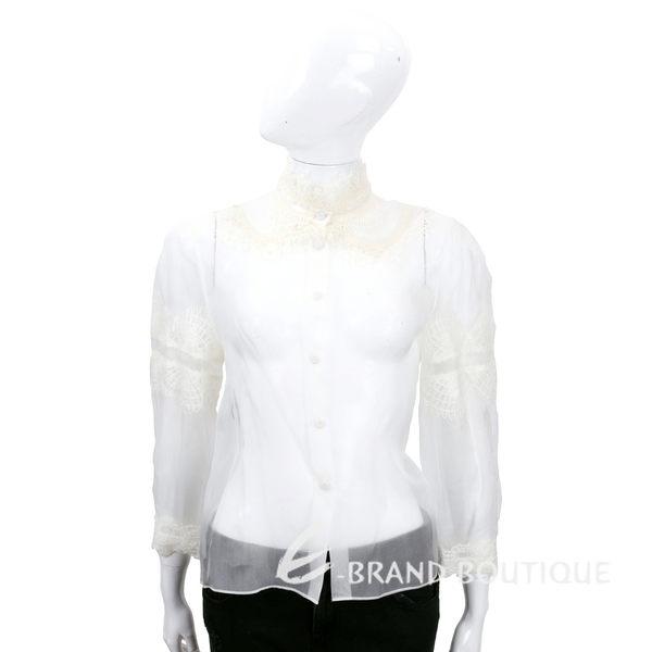 ALBERTA FERRETTI 白色透膚織花拼接長袖襯衫 1540670-20