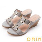 ORIN 簡約時尚潮流 編織紋牛皮楔型中跟涼拖鞋-灰色