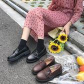 現貨新款秋季樂福鞋女平底小皮鞋英倫風女鞋韓版學院百搭軟妹單鞋 -可卡衣櫃3-12
