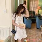 短袖洋裝 夏裝韓版小清新修身中長款方領少女白色連身裙短袖荷葉邊仙女裙子 愛丫 免運