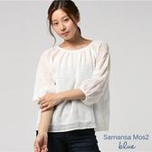 ❖ Hot item ❖ 透膚感圓領刺繡七分袖上衣 - Sm2 BLUE