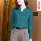 M-3XL小中大尺碼長袖襯衫~復古港風chic上衣別致設計高級感小眾超好看綠色襯衫NA61A莎菲娜